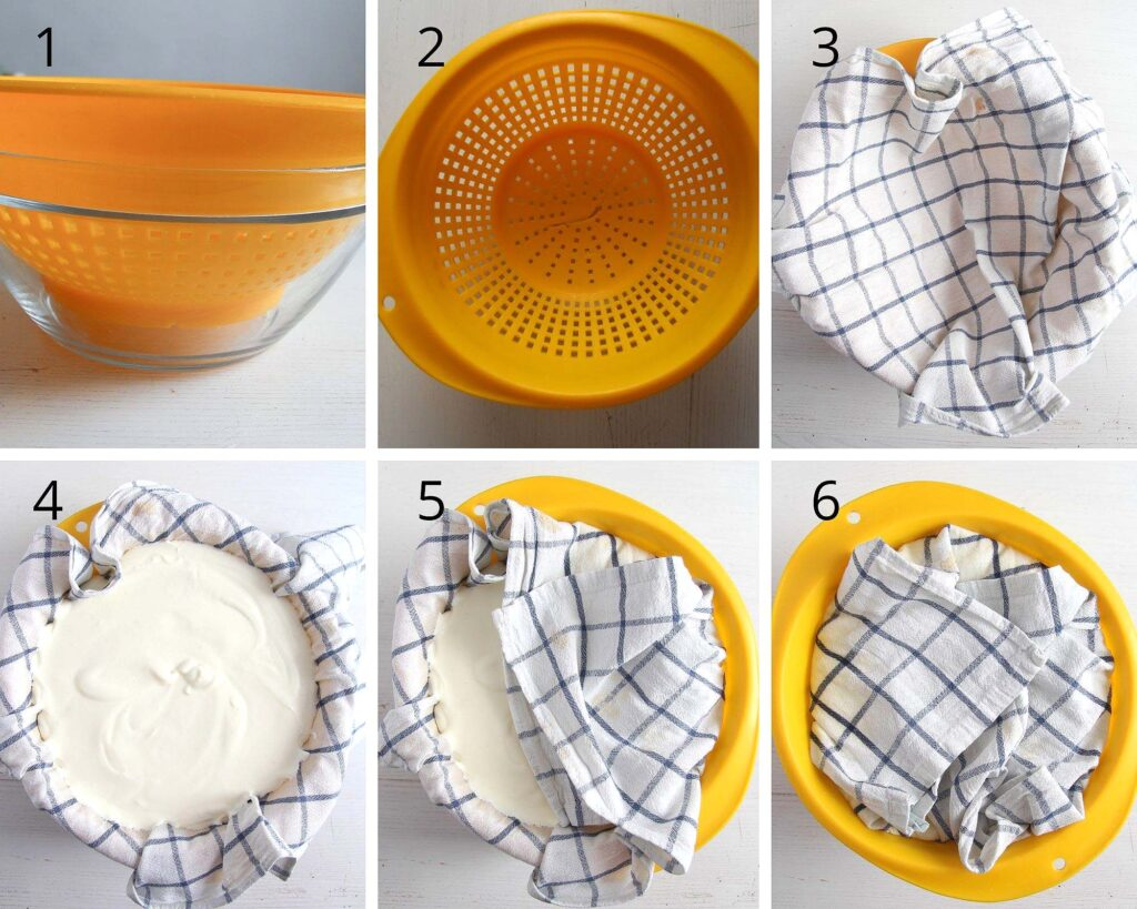 collage of six pictures showing how to make strained yogurt for dessert