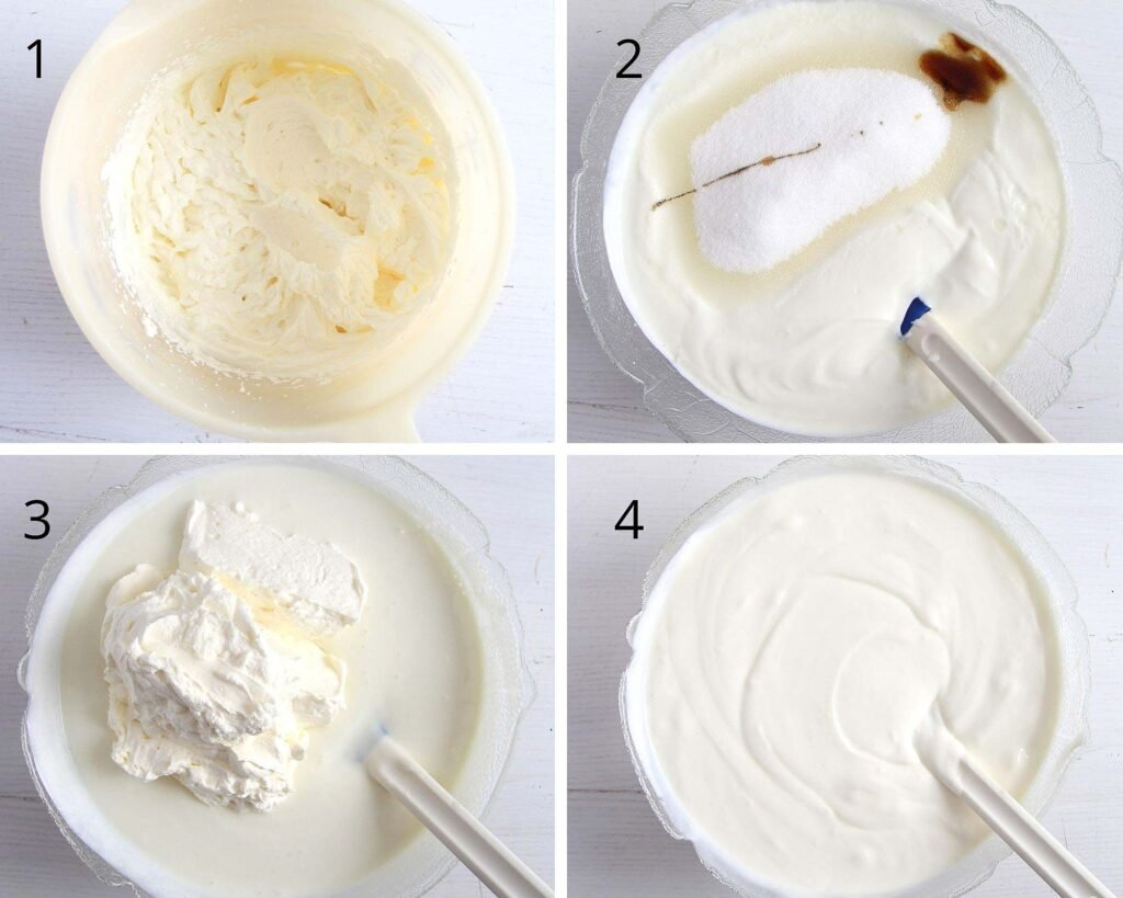 collage of four pictures showing how to stir yogurt dessert