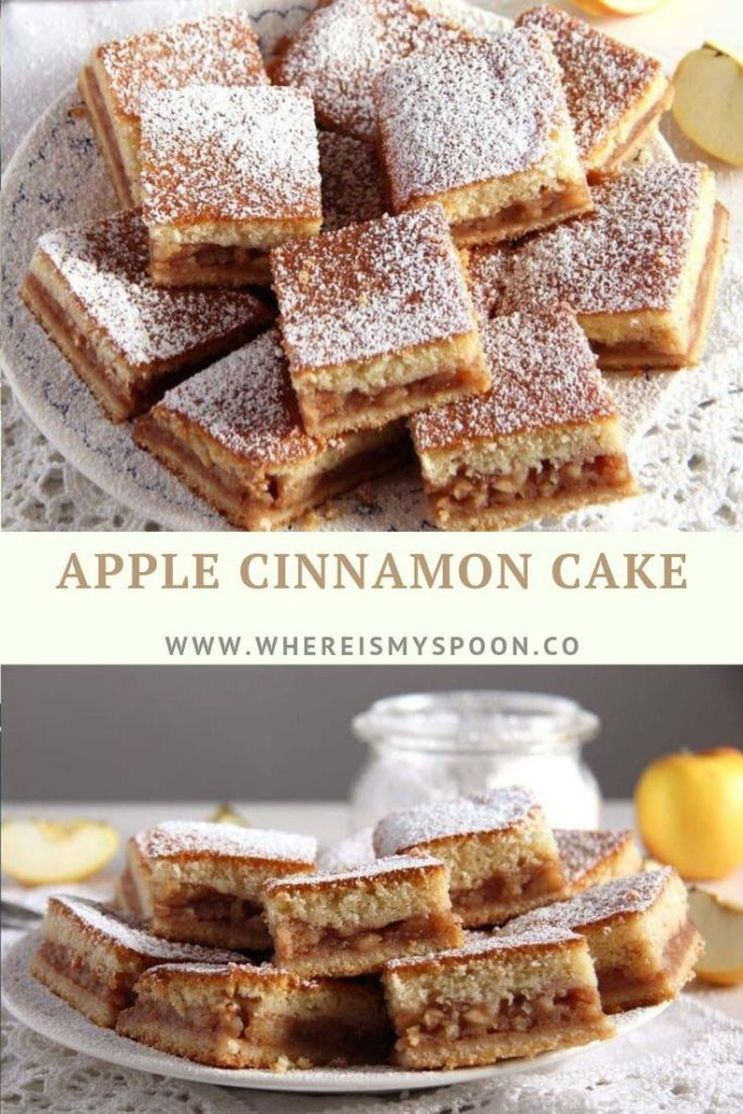sliced apple cinnamon cake on a platter