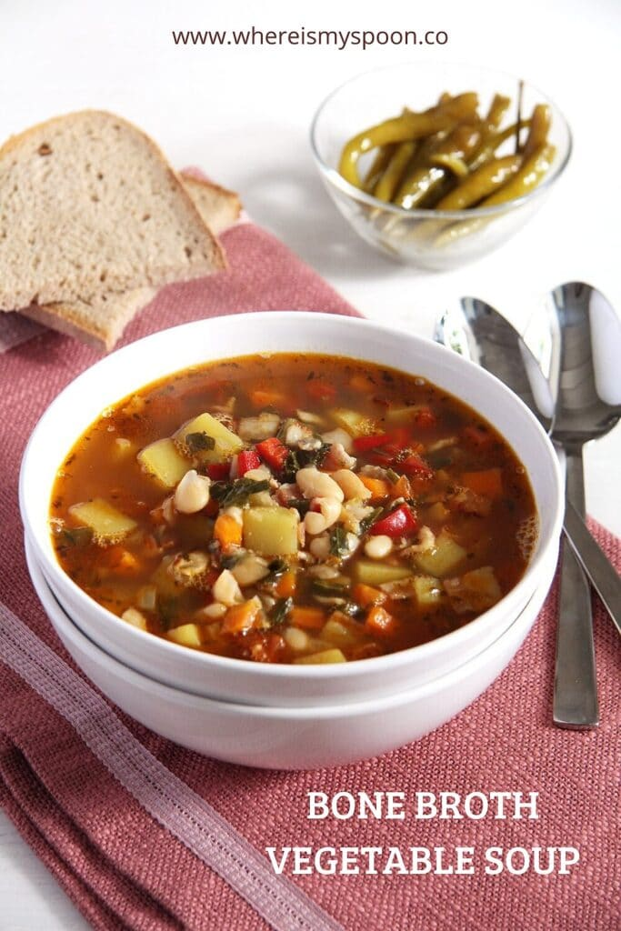 bone broth soup with beans and vegetables