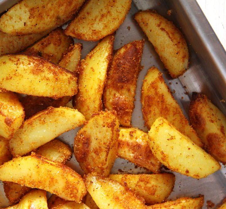 crispy baked cornmeal potato wedges