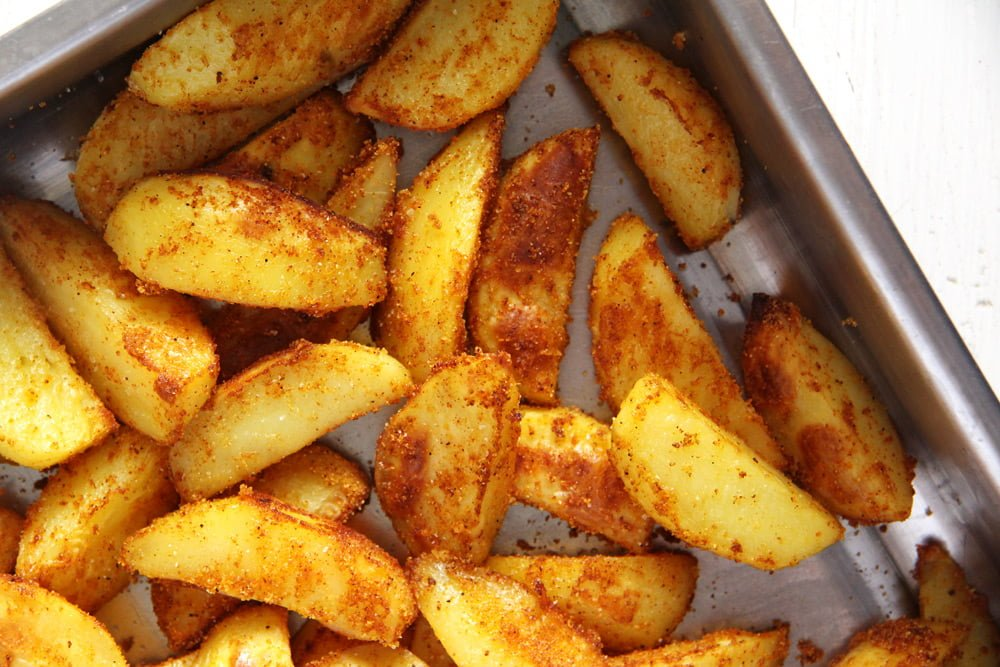 crispy baked cornmeal potato wedges