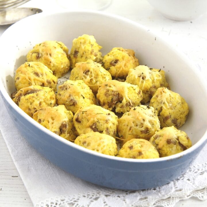polenta balls stuffed with cheese and sausages