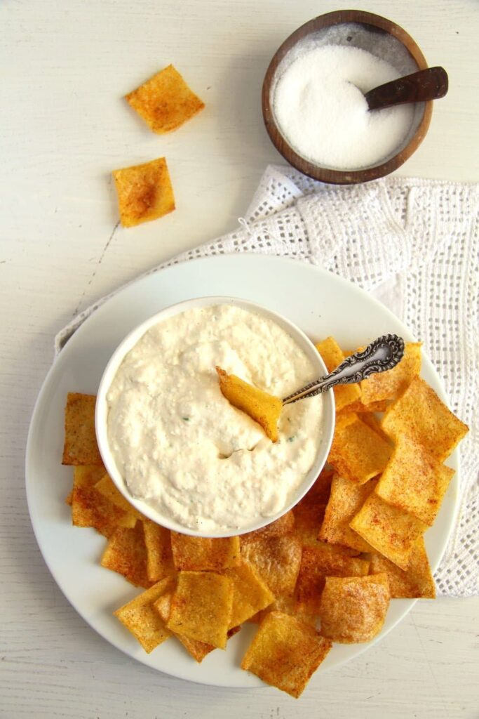 polenta chips dip 683x1024 Crunchy and Spicy Polenta Chips