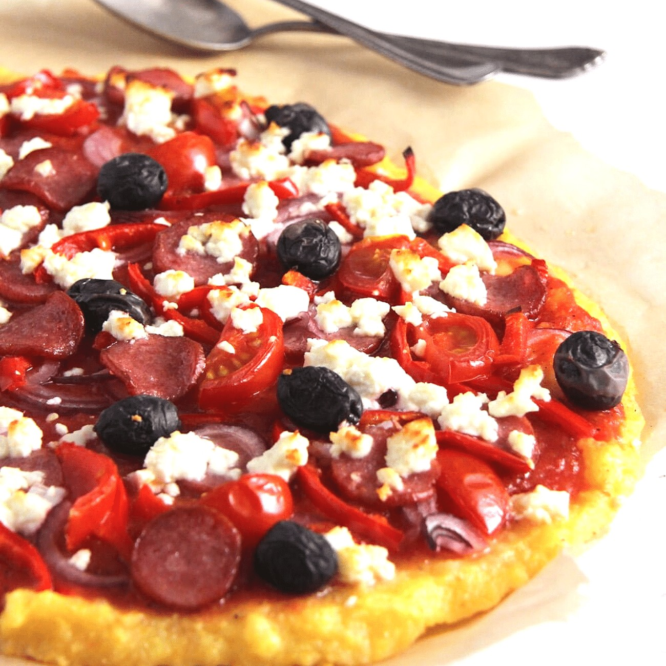 Polenta Pizza (with Various Toppings)