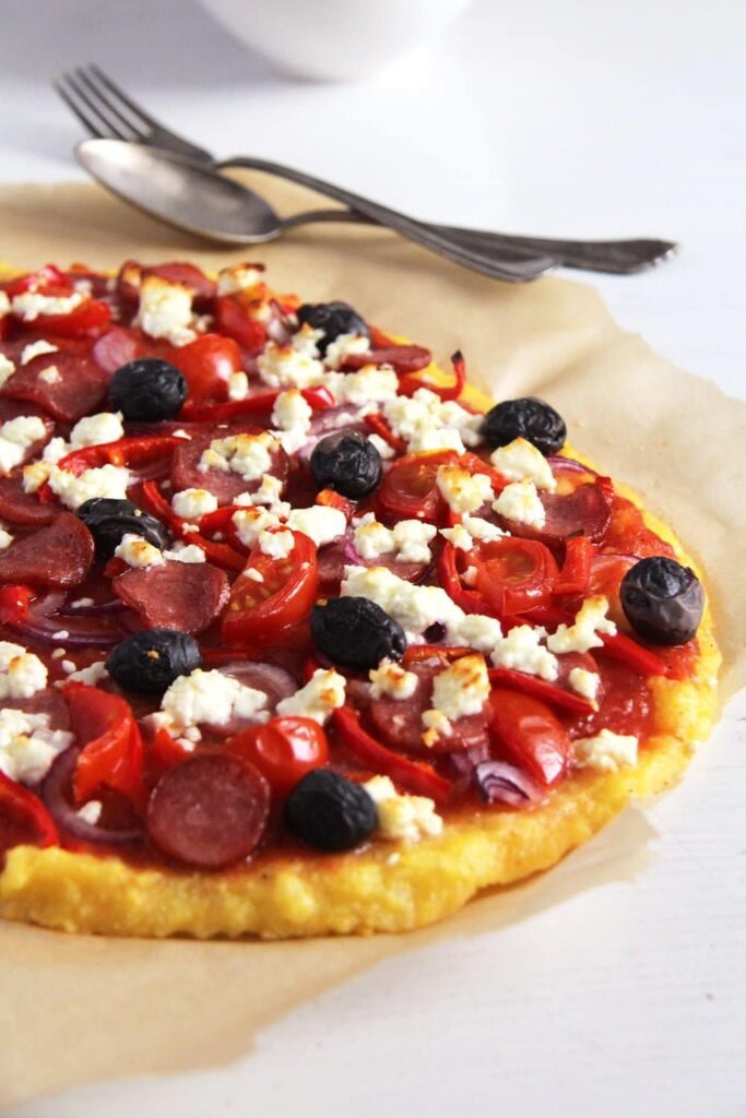 polenta pizza olives 683x1024 Polenta Pizza and Several Toppings Ideas
