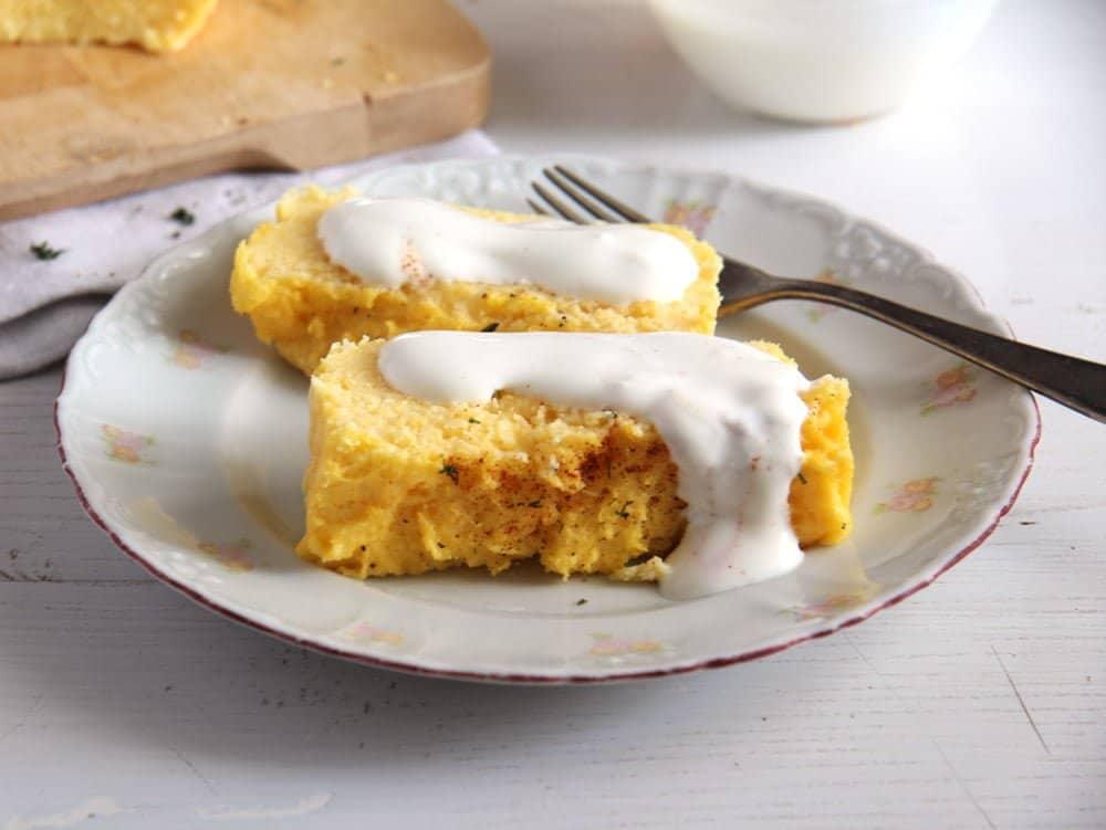 baked polenta with yogurt garlic sauce