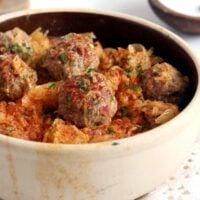 stew with meatballs and sauerkraut in a pot