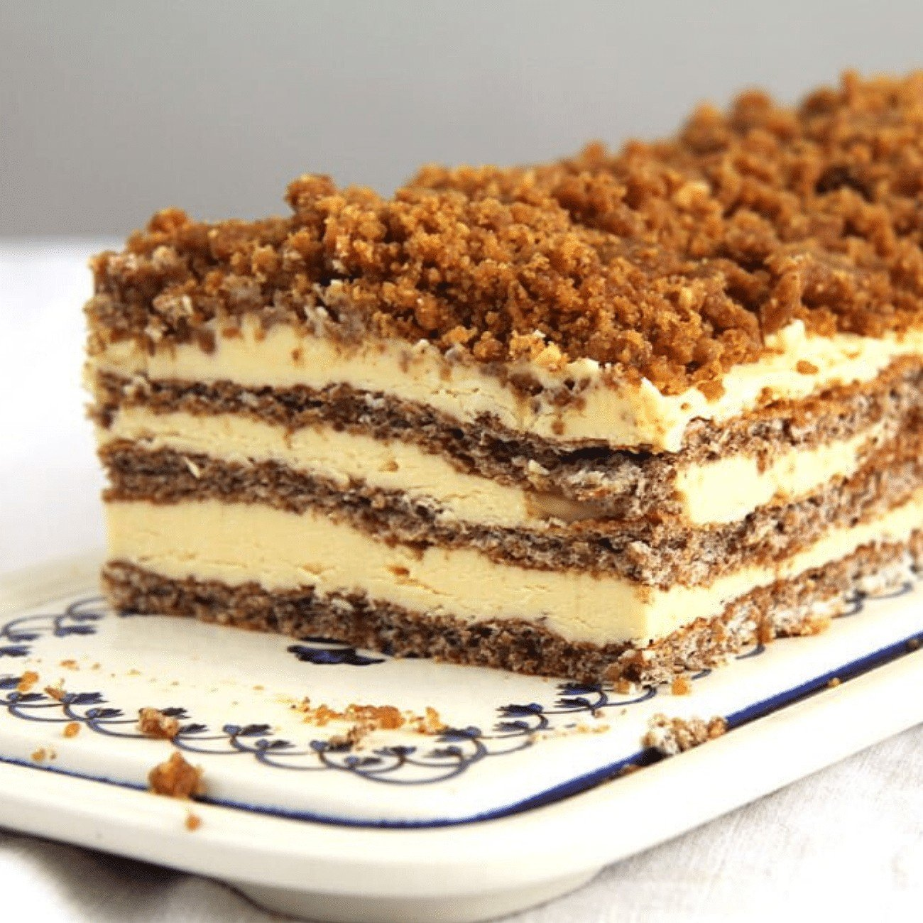 layered Romanian walnut buttercream cake