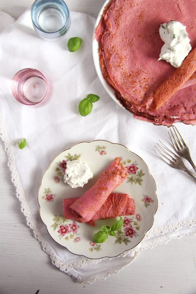 beet crepes romanian 683x1024 Beetroot Crepes with Cream Cheese and Horseradish Filling