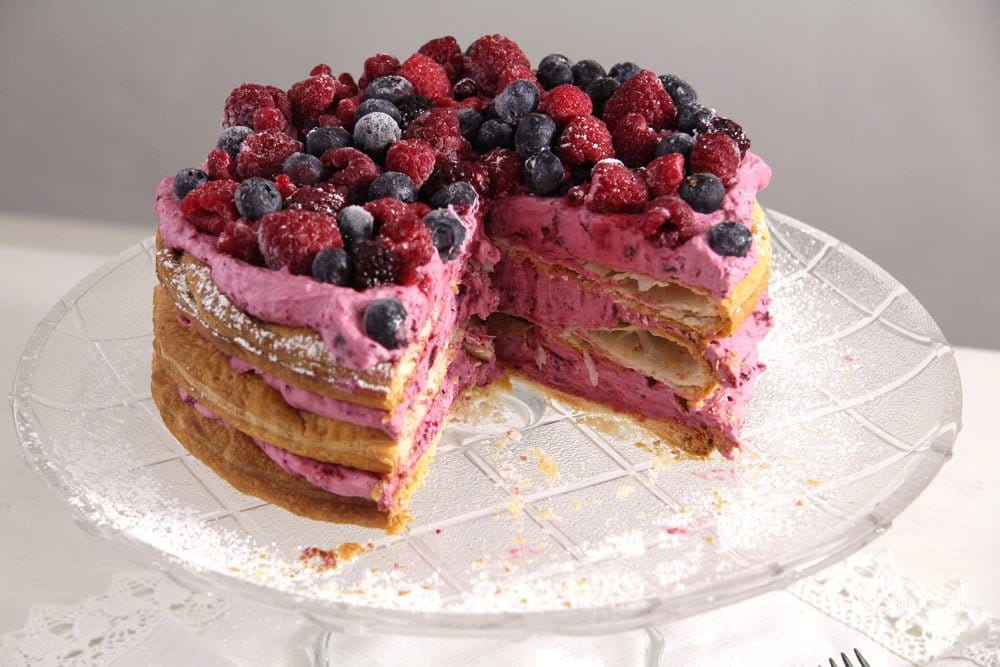berry cake Berry Cake with Puff Pastry Layers and Whipped Cream
