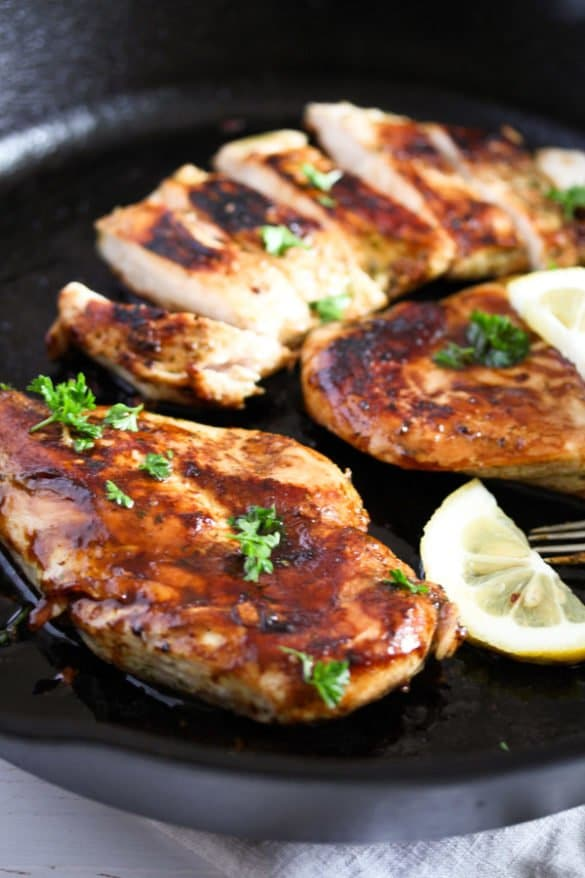 skillet chicken breast 3 585x878 Basic Skillet Chicken Breasts