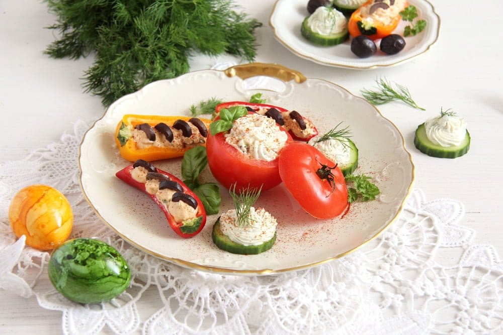 appetizers Cream Cheese and Herbs Stuffed Vegetables