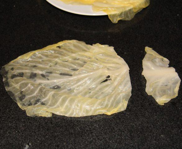 cabbage rolls 5 585x479 Vegan Sauerkraut Rolls with Rice, Walnuts and Raisins