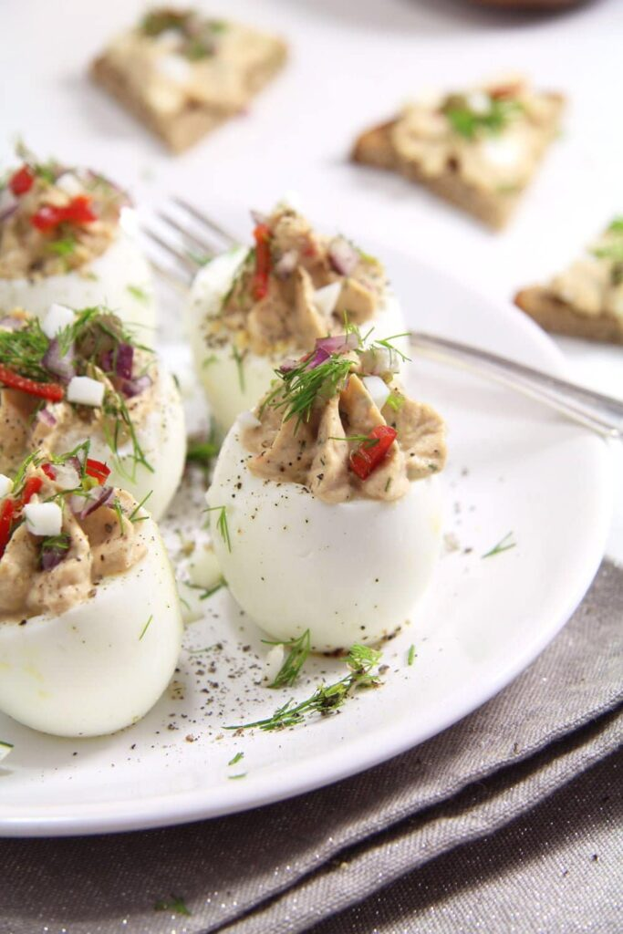 deviled eggs capers 683x1024 Spicy Tuna Eggs with Mayonnaise and Capers