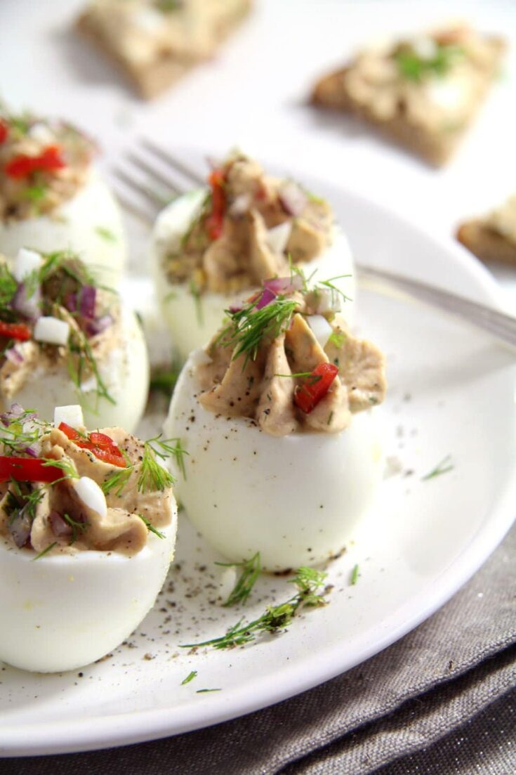 deviled eggs tuna dill 735x1103 Spicy Tuna Eggs with Mayonnaise and Capers