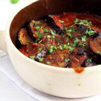 eggplants tomato sauce 200x200 Eggplant Stew in Tomato Sauce