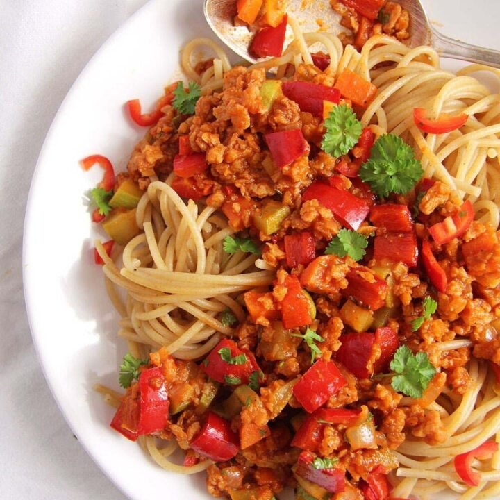 meatless spaghetti sauce on a plate