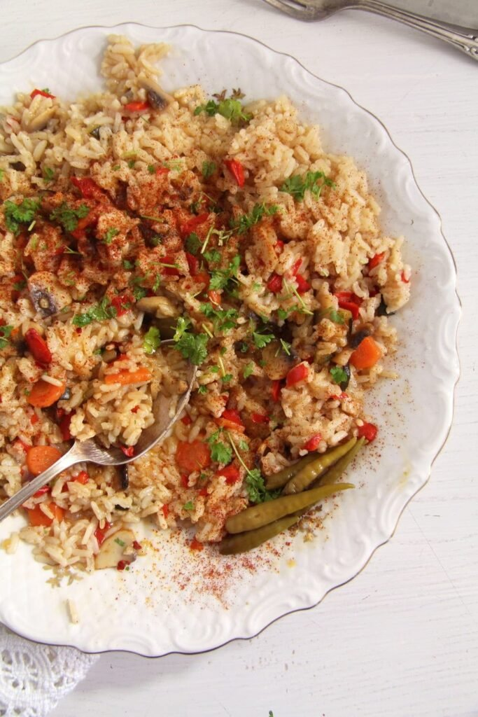 rice vegetables romanian 683x1024 Romanian Vegan Vegetable Rice or Pilaf
