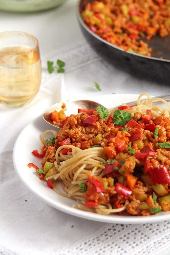 soy granules sauce 683x1024 Meatless Spaghetti Sauce