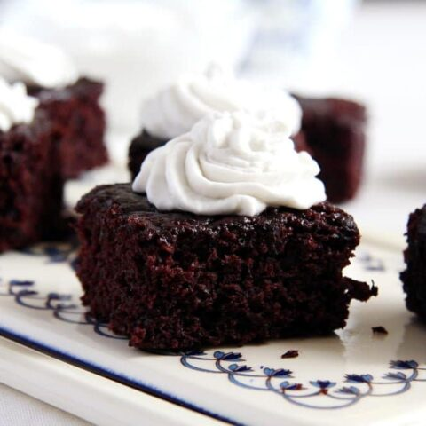 small cocoa brownies with coconut cream topping