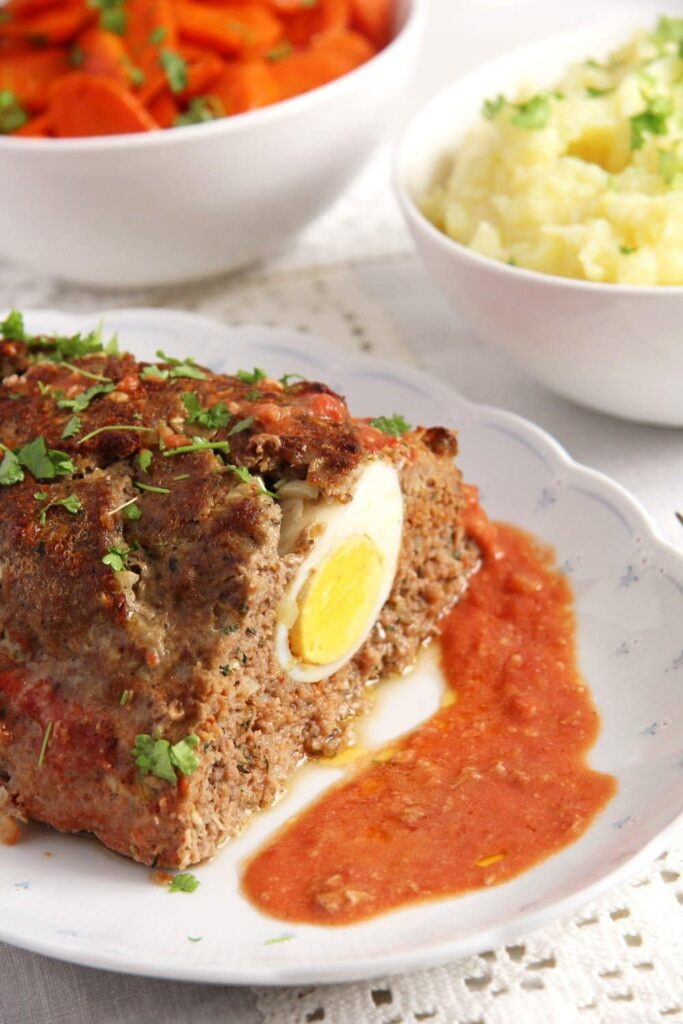 meatloaf 683x1024 Easy Beef Meatloaf with Hard Boiled Egg
