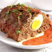 meatloaf egg 200x200 Easy Beef Meatloaf with Hard Boiled Egg