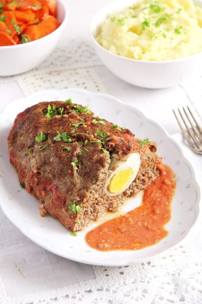 meatloaf eggs 683x1024 Easy Beef Meatloaf with Hard Boiled Egg