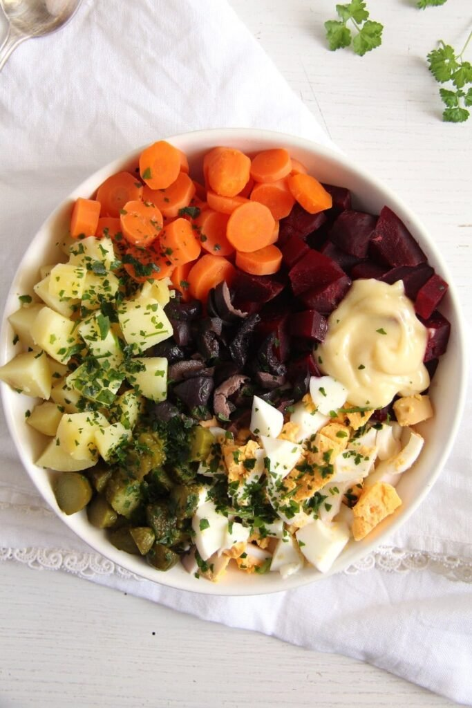 salad russe olives 683x1024 Salad Russe   Russian Salad Recipe