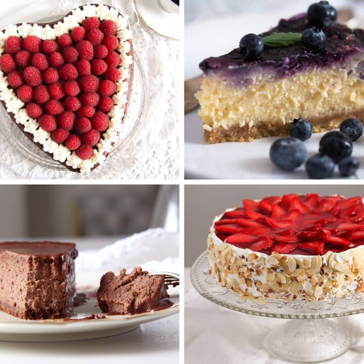 four cheesecakes for mothers day strawberry blueberry raspberry chocolate cakes