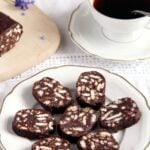 plate with biscuit chocolate salami
