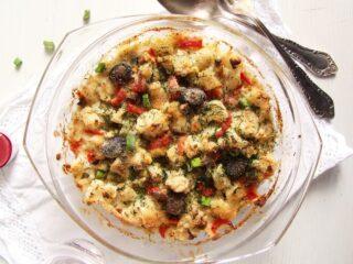 vegetarian cauliflower feta casserole in a small baking dish