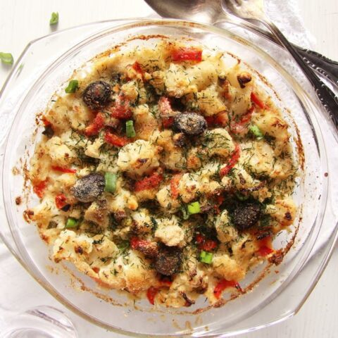 vegetarian cauliflower feta casserole in a small baking dish