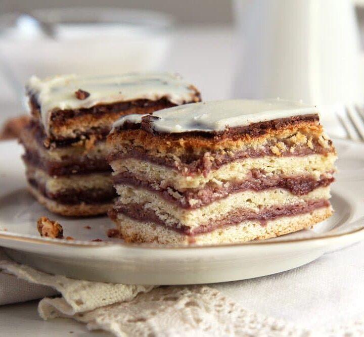 romanian greta garbo cake recipe squares on a vintage plate