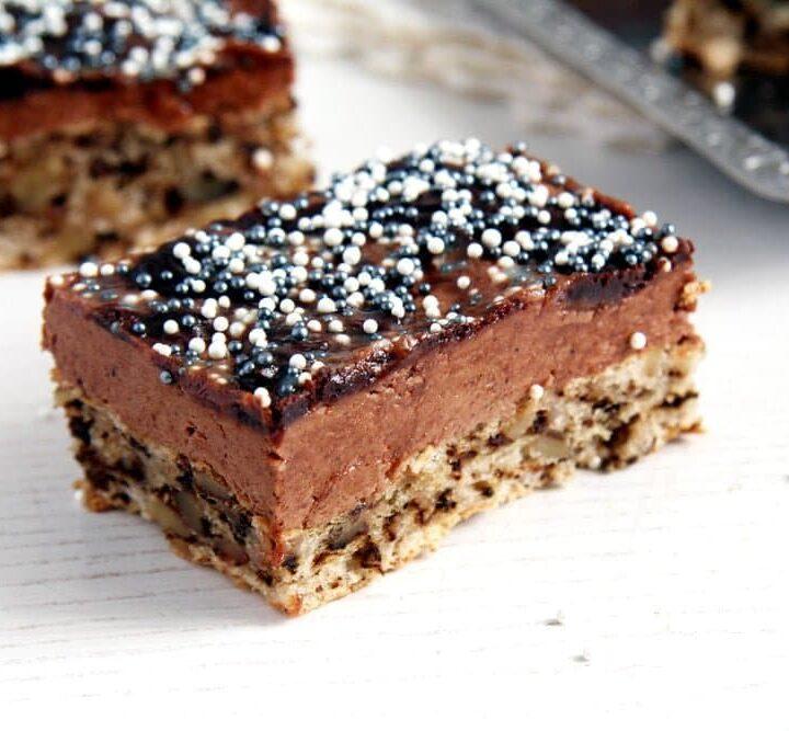 walnut chocolate cake sliced on the table