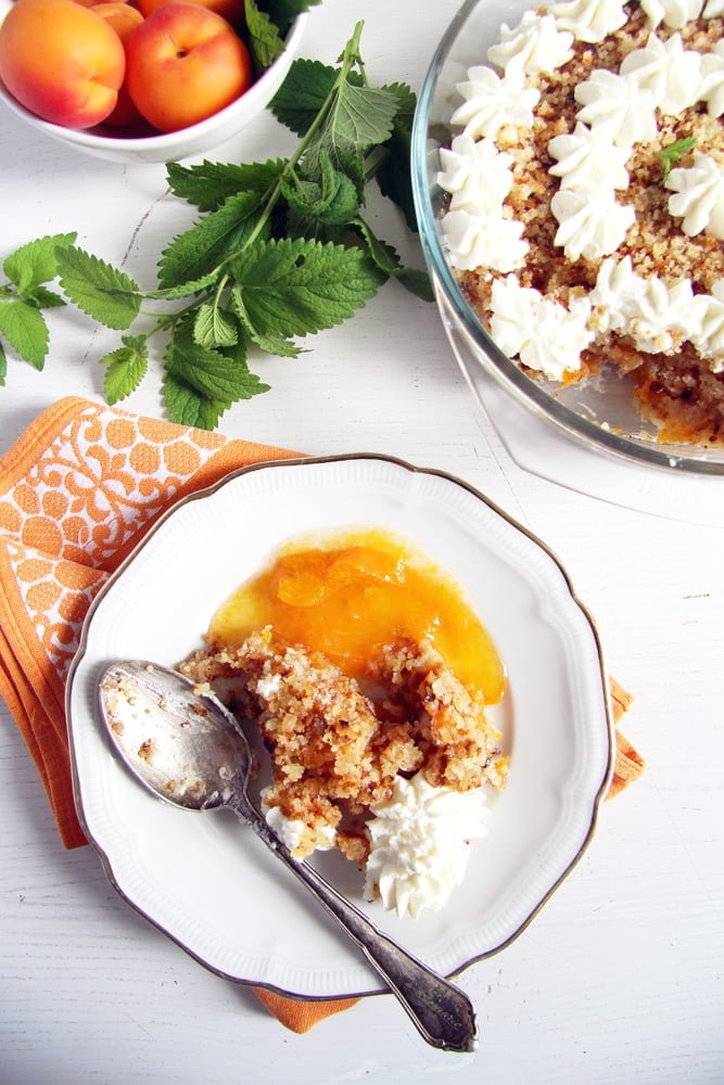 apricot dessert cream Apricot Crumble Dessert with Cake Scrapings