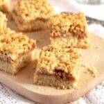 crumble cake with jam cut into small squares