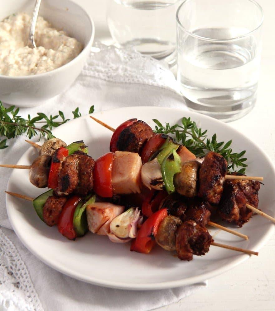 skewers ham vegetables Grilled Pork, Ham and Vegetables Skewers