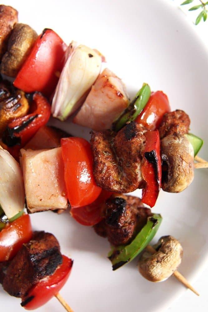 skewers ham Grilled Pork, Ham and Vegetables Skewers
