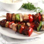 skewers pork vegetables 150x150 Grilled Pork, Ham and Vegetables Skewers
