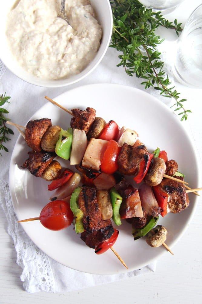 skewers pork Grilled Pork, Ham and Vegetables Skewers