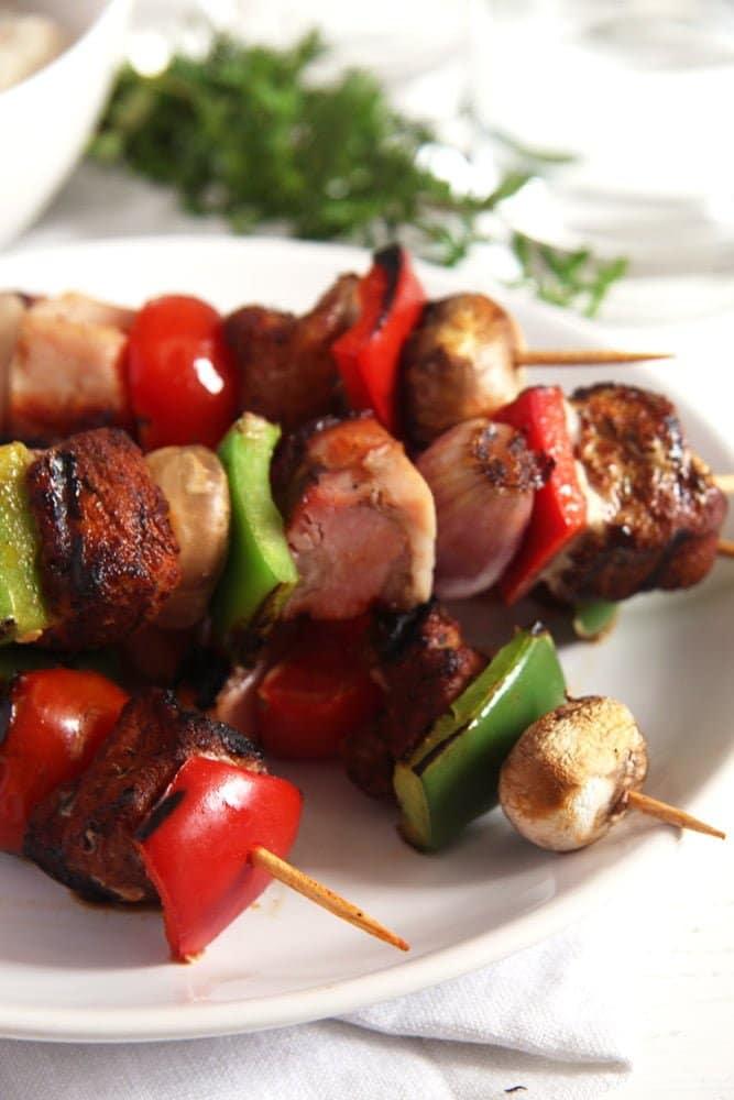 skewers Grilled Pork, Ham and Vegetables Skewers