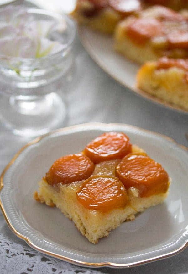 upside down cake with fresh apricots