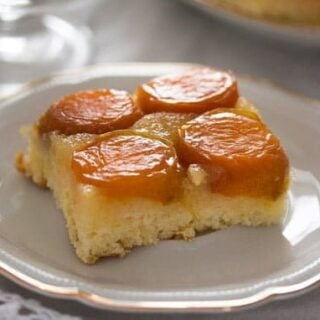 a slice of upside down apricot cake