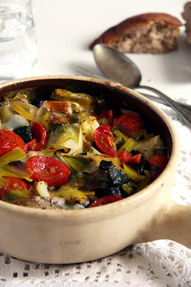 Leek and Black Olive Stew
