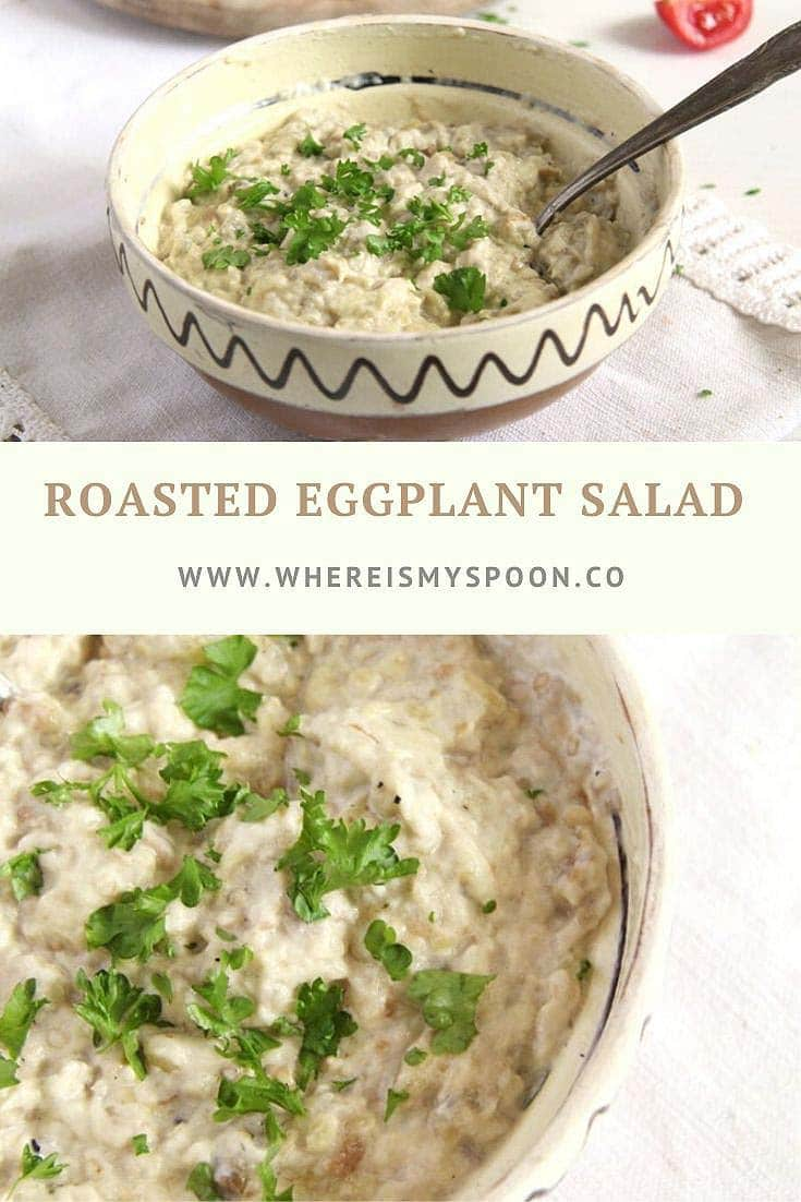 Romanian roasted eggplant salad, the traditional and authentic vinete recipe. #whereismyspoon #vineterecipe #eggplantsalad #healthyeggplantsalad #romanianeggplantsalad #auberginesalad #romanianrecipes