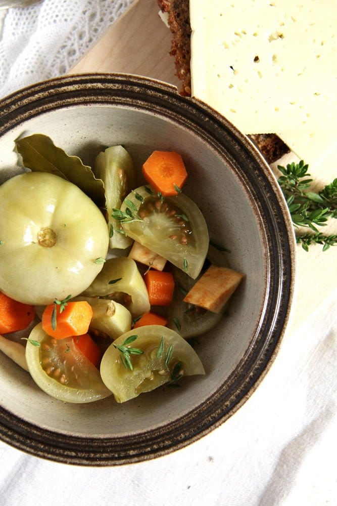green tomato preserved Green Tomato Pickles with Unripe Tomatoes