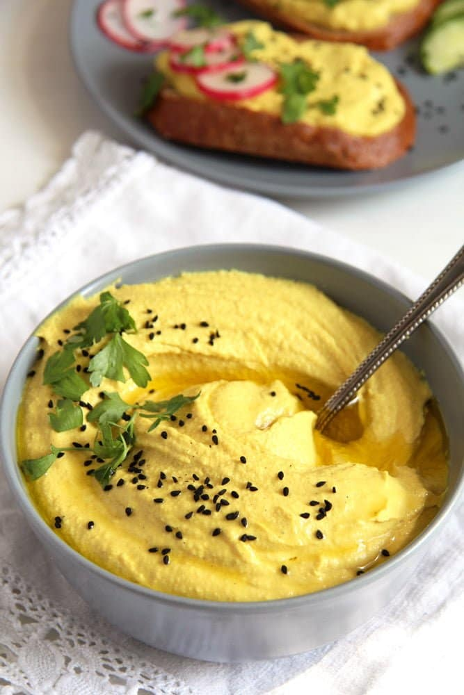 turmeric hummus Turmeric Hummus (Hoummus) with Tahini and Garlic