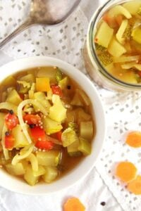 zucchini sweet sour 200x300 Sweet and Sour Zucchini, Pepper and Onion Pickles