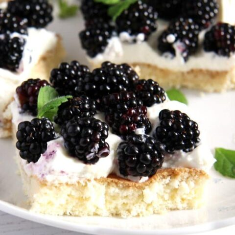 slice of cake topped with jewelled-like fresh blackberries
